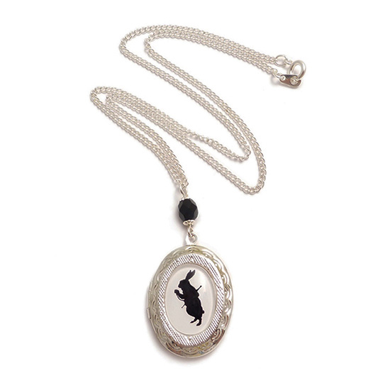 LunarraStar Alice in Wonderland cameo necklace - Alice Drink me silhouette locket Victorian necklace BcTaqBBT